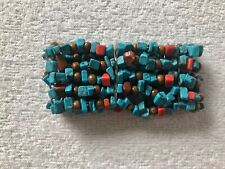Topshop Custume jewellery: Turquoise/Brown/Red Stretch Bracelet