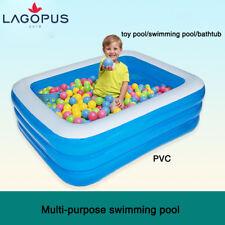 Blue Rectangular Family Kids Fun Outdoor Swimming Pool Inflatable Wading Pool