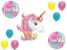 "33"" UNICORN 9 piece BALLOON Bouquet Happy Birthday Pegasus Fairy FREE SHIPPING"