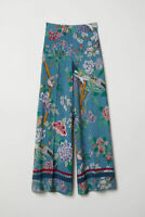New GP & J BAKER x H&M Wide Leg Pants Viscose Bird Floral Print Teal Blue 4 6 10