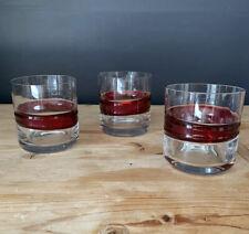 SALVIATI Murano Glass x 3 bicchieri da cocktail in ottime condizioni Red Stripe RRP £ 65Ea