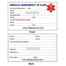 5  Medical Emergency wallet cards for Medical Alert Id bracelets and Dog Tags.