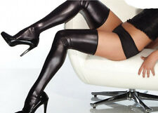 Black Latex Leather Wet Look Stockings Pole dancer Fetish PVC thigh high