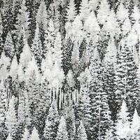 ~Yard~ Snowy Fir Trees Silver Sparkle Natures Window Cotton Fabric Kaufman