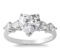 .925 Silver Five Stone 2.80ct Simulated Diamond Size 10 Heart Promise Ring S75