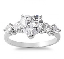 .925 Silver Five Stone 2.80ct Simulated Diamond Size 9 Heart Promise Ring S75