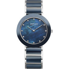 Bering Women's Blue Ceramic Stainless Steel Watch with Crystal Indexes 11435-787