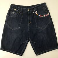 Eight 732 Mens Jean Shorts Embroidered Pockets Size 44 Lightly Distressed
