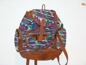 Guatemalan Huipil and Leather Backpack -  Turquoise and Blue pattern