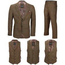 Mens 3 Piece Tan Check Herringbone Suit Blazer Waistcoat Trouser Sold Separately