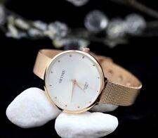 Uhr Armbanduhr Analog Modisch  Rund Watch Damen Quartz  Rotgold Rosegold