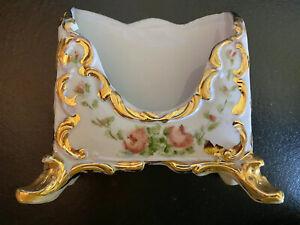 Vintage Desk Letter Note Box Holder White Ceramic Pink Roses Gold Trim Signed