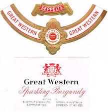 Unused 1940s AUSTRALIA Seppeltsfield Great Western Sparkling Burgundy Wine Label