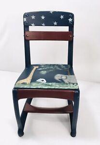 Vtg Painted Folk Art Child's Chair Metal Wood School Student American Seating