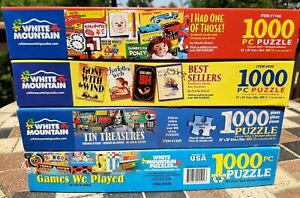 White Mountain Lot of Four (4), 1000 Piece Puzzles, Nice Condition