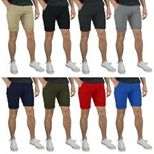 GantsHill Mens Flat Front Chino Shorts 100% Cotton Half Pants