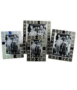 "Silver Photo Picture Frame 4x6"", 5x7"", 6x8"" & 8x10"" Jigsaw Design"