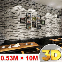 10M 32.8FT Roll 3D Brick Stone Wall Sticker Rustic Effect Living Room Decor DIY