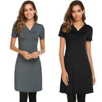 Women Casual Short Sleeve Solid V Neck T Shirt Cover-up Tunic A-Line KFBY