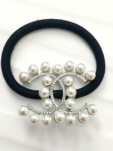 """CC CHANEL Beauty VIP gift Pearls Silver steel Hair Tie 1.72 x 1.43"""" 44mm x 36.3m"""