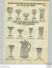 1928 PAPER AD Mother Of Pearl Glassware Thistle Etched Cut Glass Glassware