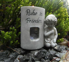 Grabengel für Teelicht Bilderrahmen Foto  Engel Figur Grabdeko Friedhof  NEU