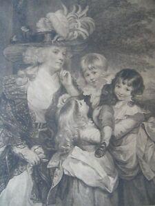 C18th Lady Smith + her Children. Bartolozzi Stipple Engraving aft Reynolds.