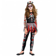 Childs Scared Bone Day of The Dead Halloween Fancy Dress Costume Age 10-12