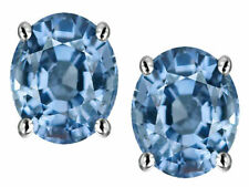 1 ct. Aquamarine Oval Stud Earrings in Sterling Silver ~ MARCH BIRTHSTONE