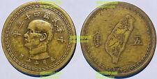 China Taiwan 5 Jiao chiao 1/2 dollar 1954 27mm bronze coin y535
