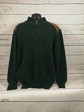 Gander Mountain Sweater With Leather On Shoulders ~ Quarter Zip ~ Men's XL