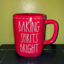 """New RAE DUNN Holiday Christmas LL """"BAKING SPIRITS BRIGHT"""" Red Mug With Stitching"""
