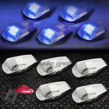 FOR 80-96 F-SERIES PICKUP 5PCS CHROME BLUE LED CAB ROOF RUNNING LIGHTS+SWITCH