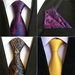 Men Floral Paisley Wedding Tie & Pocket Square Hanky Handkerchief Matching Set