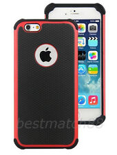 for iPhone 6 4.7 inch phone red black triple layer rugged hybrid hard soft case