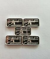 (5) 1 GRAM 0.999+ PURE SILVER BARS- AR-15 PROTECT OUR 2ND AMENDMENT