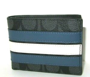 Coach Men's 3004 Pieced Slim Wallet Charcoal Signature Denim Chalk Stripe NWT