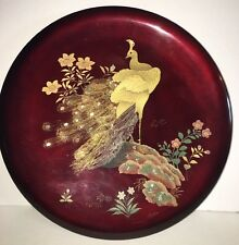 "Lacquerware Plate Maruni  Peacock Abalone Inlaid Plate 14"" D Metal Base Japan"