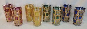 VINTAGE MCM BARWARE (8) WATER HIGHBALL GLASSES SET w/ MULTI-COLOR LIONS & CASTLE