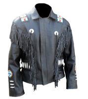 Handmade Cowhide Leather Wear Western Cowboy Style Fringe Bones Mens Coat Jacket
