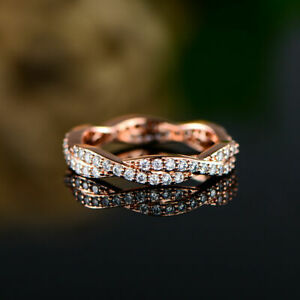 14K Rose Gold Plated Twisted Engagement Wedding Eternity Fancy Ring 2 Ct Diamond