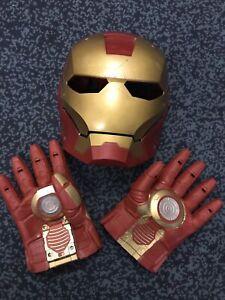Children's Iron Man Mask & Gloves ,right Hand Lights Up