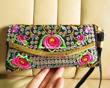 3-layer Hmong Vintage Thai Indian Ethnic wallet handbag Hobo hippie card bag 484