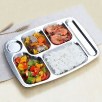 Stainless Steel 6 Compartment Section Tray School Camping Food Snack Serving