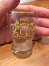 Queen Elizabeth II Coronation 1953 Vintage Glass Gold on Rim Coat Of Arms