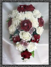 Brides Teardrop Bouquet , Wedding Flowers Ivory & burgundy roses