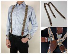 VTG BURBERRYS Of London Nova Check Plaid Suspenders Braces Beige Burberry Rare