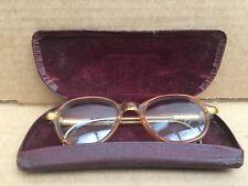 Vintage 50's Orange Plastic Frame Glasses  In Original Case
