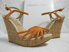 Charles David Size 10 M Strata Flamingo Suede Open Toe Wedges New Womens Shoes