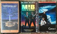 Science Fiction Action Comedy Widescreen Versions VHS Lot Of 3 (MIB, Contact, +)